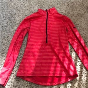 Nike Pro Dri fit 1/4 zip red striped sweatshirt M